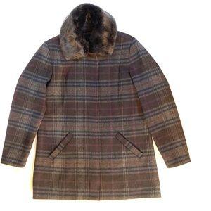 Johnston & Murphy grey & purple wool blend coat
